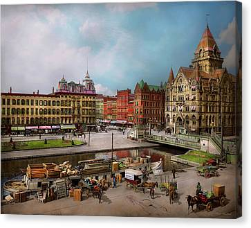 Canvas Print - City - Syracuse Ny - The Clinton Square Canal 1905 by Mike Savad