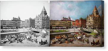 Canvas Print - City - Syracuse Ny - The Clinton Square Canal 1905 - Side By Sid by Mike Savad