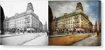 Canvas Print featuring the photograph City - Toledo Oh - Got A Boody Call 1910 - Side By Side by Mike Savad