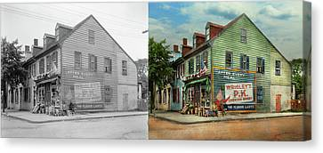 City- Va - C And G Grocery Store 1927 - Side By Side Canvas Print by Mike Savad