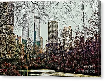 Canvas Print featuring the photograph City View From Park by Sandy Moulder