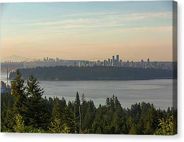 City View Of Vancouver And Burnaby Bc Canvas Print by David Gn