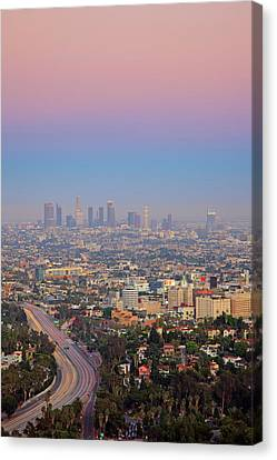 Aerial View Canvas Print - Cityscape Of Los Angeles by Eric Lo