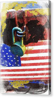 Civil Rights And Wrongs Home Land Security Flag And Lock 1 Canvas Print by Tony Rubino