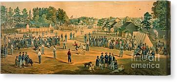 Civil War Baseball 1863 Canvas Print by Padre Art