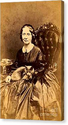 Civil War Era American Woman With Her Cat Canvas Print by Peter Gumaer Ogden Collection