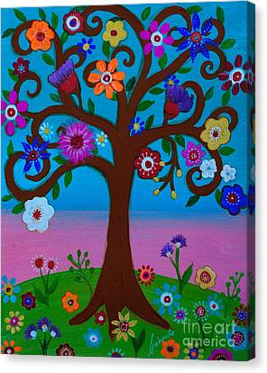 Canvas Print featuring the painting Cj's Tree by Pristine Cartera Turkus