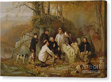 Dog In Landscape Canvas Print - Claiming The Shot - After The Hunt In The Adirondacks by John George Brown