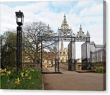 Canvas Print featuring the photograph Clare College Gate Cambridge by Gill Billington