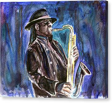 Clarence Clemons Canvas Print by Clara Sue Beym