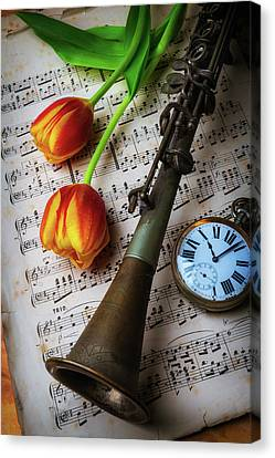 Clarinet And Tulips Canvas Print by Garry Gay