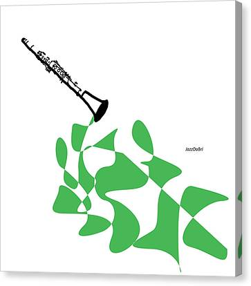 Clarinet In Green Canvas Print