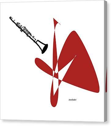 Clarinet In Orange Red Canvas Print