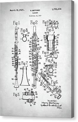 Clarinet Patent Canvas Print by Taylan Apukovska