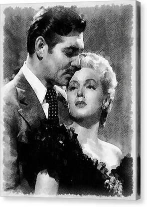 Clark Gable And Lana Turner Hollywood Legends Canvas Print by Frank Falcon