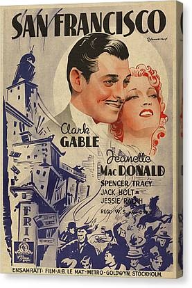 Clark Gable San Francisco Vintage Classic Movie Promotional Poster Canvas Print