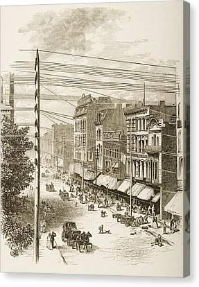 Clark Street, Chicago, Illinois In Canvas Print
