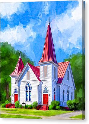 Classic American Church - Oglethorpe Lutheran Canvas Print by Mark Tisdale