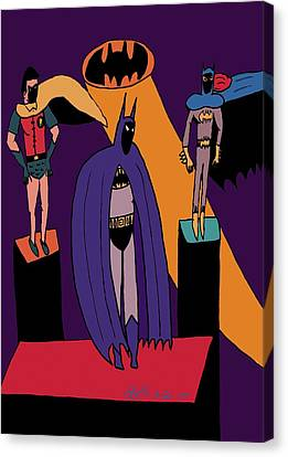 Classic Batman, Robin And Batgirl Canvas Print by John Lavernoich
