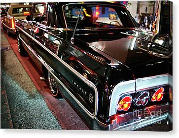 Canvas Print featuring the photograph Classic Black Chevy Impala by Dean Harte