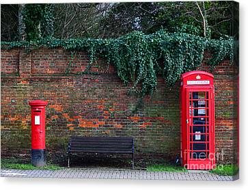 Classic British Pillar Box And Telephone Box Canvas Print by James Brunker