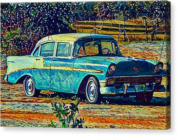 Canvas Print featuring the digital art Classic Car On An Old Dirt Road by David Mckinney