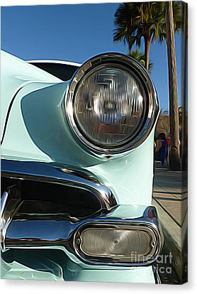 Classic Cars - 1954 Chevy 210 - Headlight And Grill Close-up Canvas Print by Jason Freedman