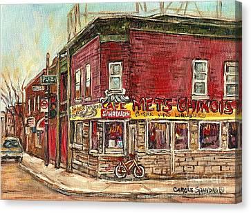 Classic Chinese Restaurant Montreal Memories Silver Dragon Canadian Paintings Carole Spandau         Canvas Print by Carole Spandau