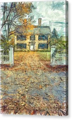 Classic Colonial Home In Autumn Pencil Canvas Print by Edward Fielding