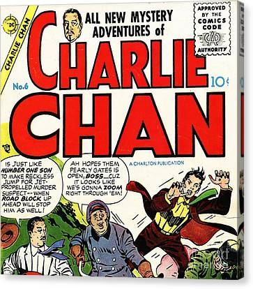 Classic Comic Book Cover Charlie Chan 6 Square Canvas Print by Wingsdomain Art and Photography