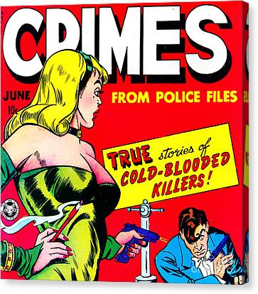 Classic Comic Book Cover Famous Crimes From Police Files 0112 Sq Canvas Print by Wingsdomain Art and Photography