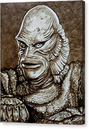 Classic Creature From The Black Lagoon Canvas Print by Al  Molina