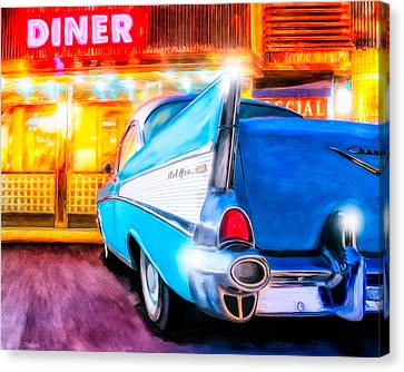 Classic Diner - 57 Chevy Canvas Print by Mark Tisdale