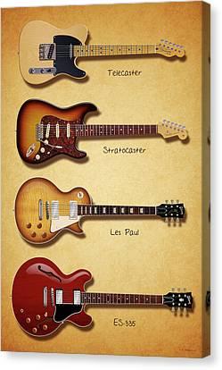 Classic Electric Guitars Canvas Print