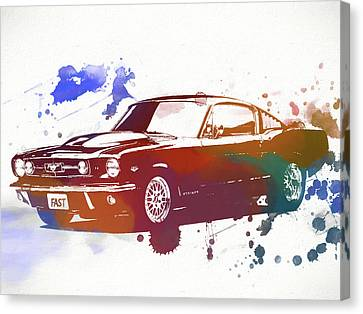 Classic Ford Mustang Watercolor Splash Canvas Print by Dan Sproul