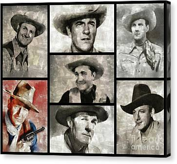 Classic Hollywood Cowboys Canvas Print by Esoterica Art Agency