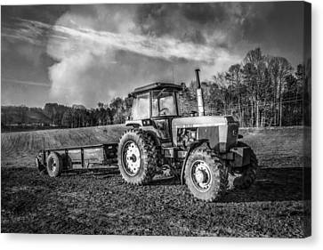 Classic John Deere Tractor In Black And White Canvas Print by Debra and Dave Vanderlaan