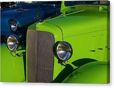 Canvas Print featuring the photograph Classic Lime Green Car by Polly Castor