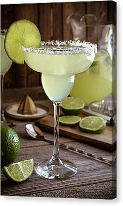 Canvas Print featuring the photograph Classic Lime Margaritas On The Rocks by Teri Virbickis