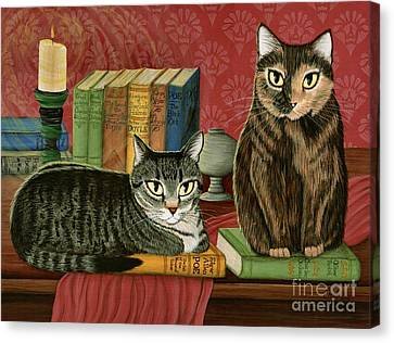 Classic Literary Cats Canvas Print by Carrie Hawks