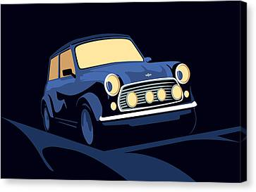 Mini Canvas Print - Classic Mini Cooper In Blue by Michael Tompsett
