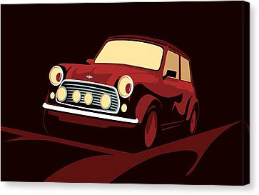Mini Canvas Print - Classic Mini Cooper In Red by Michael Tompsett