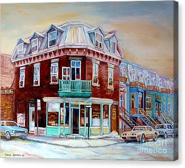 Classic Montreal Storefront Painting Peloponissos Pizza Bakery Neighborhood Memories Canadian Art  Canvas Print