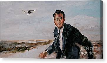 Classic Movies Cary Grant North By Northwest Canvas Print by Ginette Callaway
