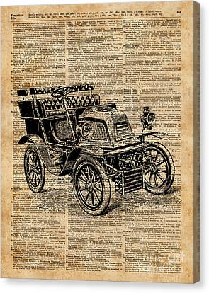 Classic Old Car,vintage Vehicle,antique Machine Dictionary Art Canvas Print by Jacob Kuch