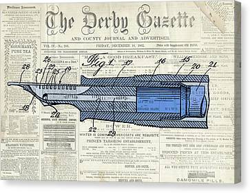 Classic Pen Drawing Patent, Blue On Old Newspaper Canvas Print by Pablo Franchi