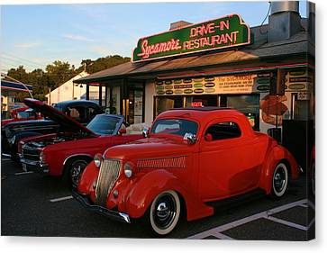 Canvas Print featuring the photograph Classic Red Car In Front Of The Sycamore by Polly Castor