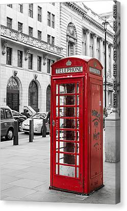 Red Telephone Box In London England Canvas Print by John Williams