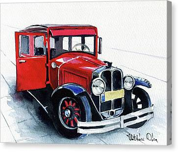 Canvas Print featuring the painting Classic Red Pontiac Car 1930 by Dora Hathazi Mendes