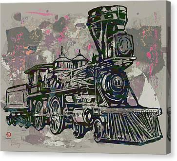 Sound Canvas Print - Classic Steam Train - New Pop Art Poster by Kim Wang